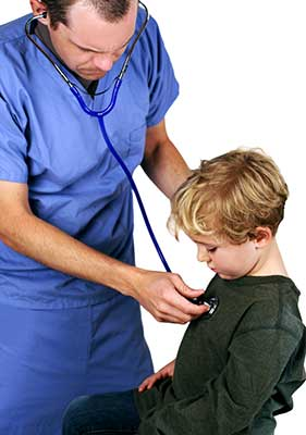 Medical Doctor attending to a sick child