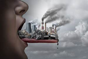 Pica disorder - garbage and pollution sitting on someone's tongue